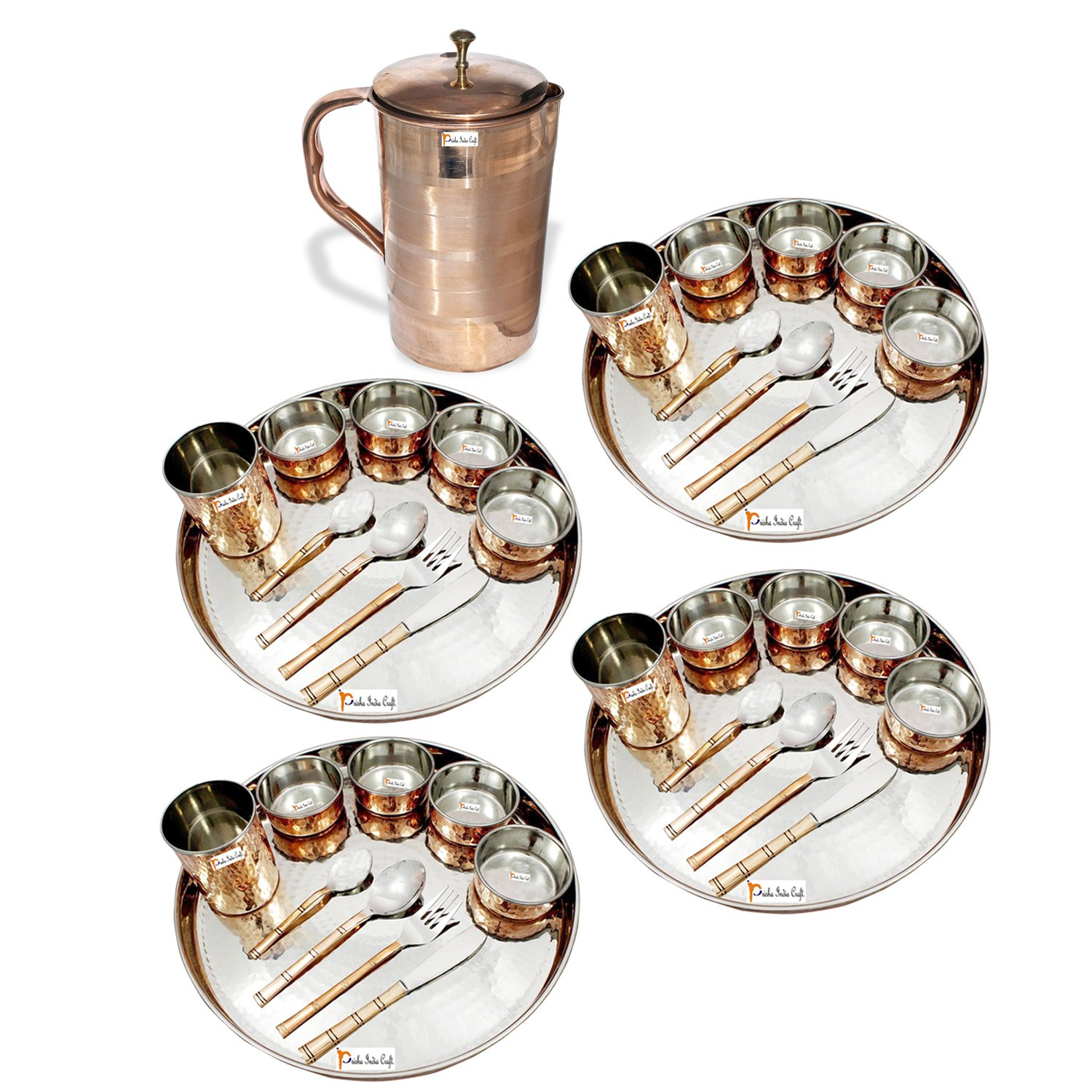 Prisha India Craft ® Set of 4 Dinnerware Traditional Stainless Steel Copper Dinner Set of Thali Plate, Bowls, Glass and Spoons, Dia 13'' With 1 Luxury Style Pure Copper Pitcher Jug - Christmas Gift