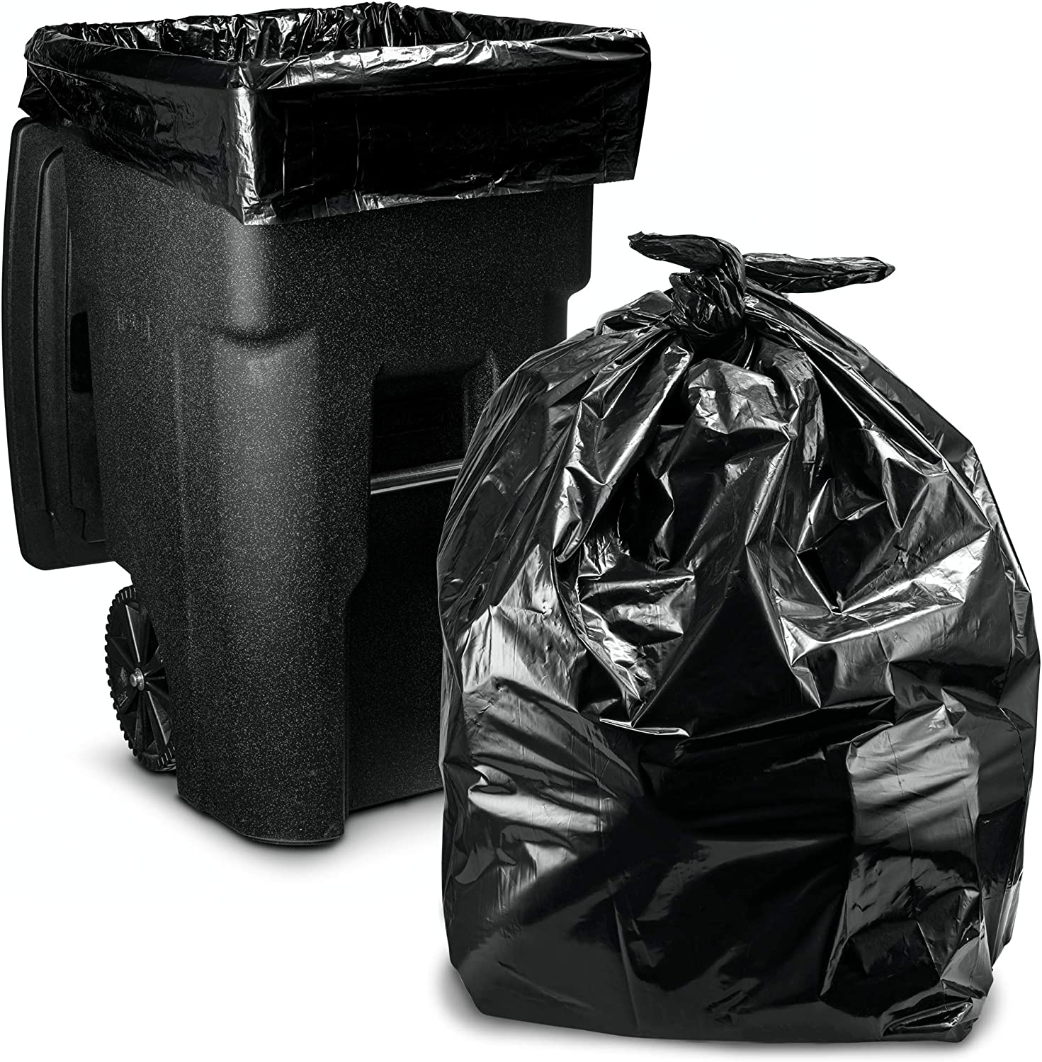 64-65 Gallon Trash Bags for Toter, (50 Count w/Ties) Large Garbage Bags, 50