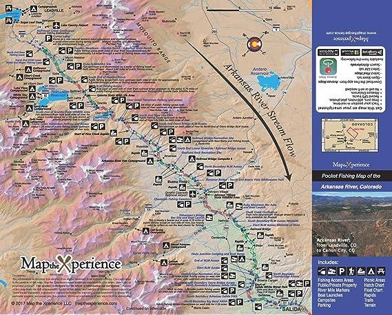 Amazon Com Arkansas River 15x11 Paper Fishing Map Digital Gps