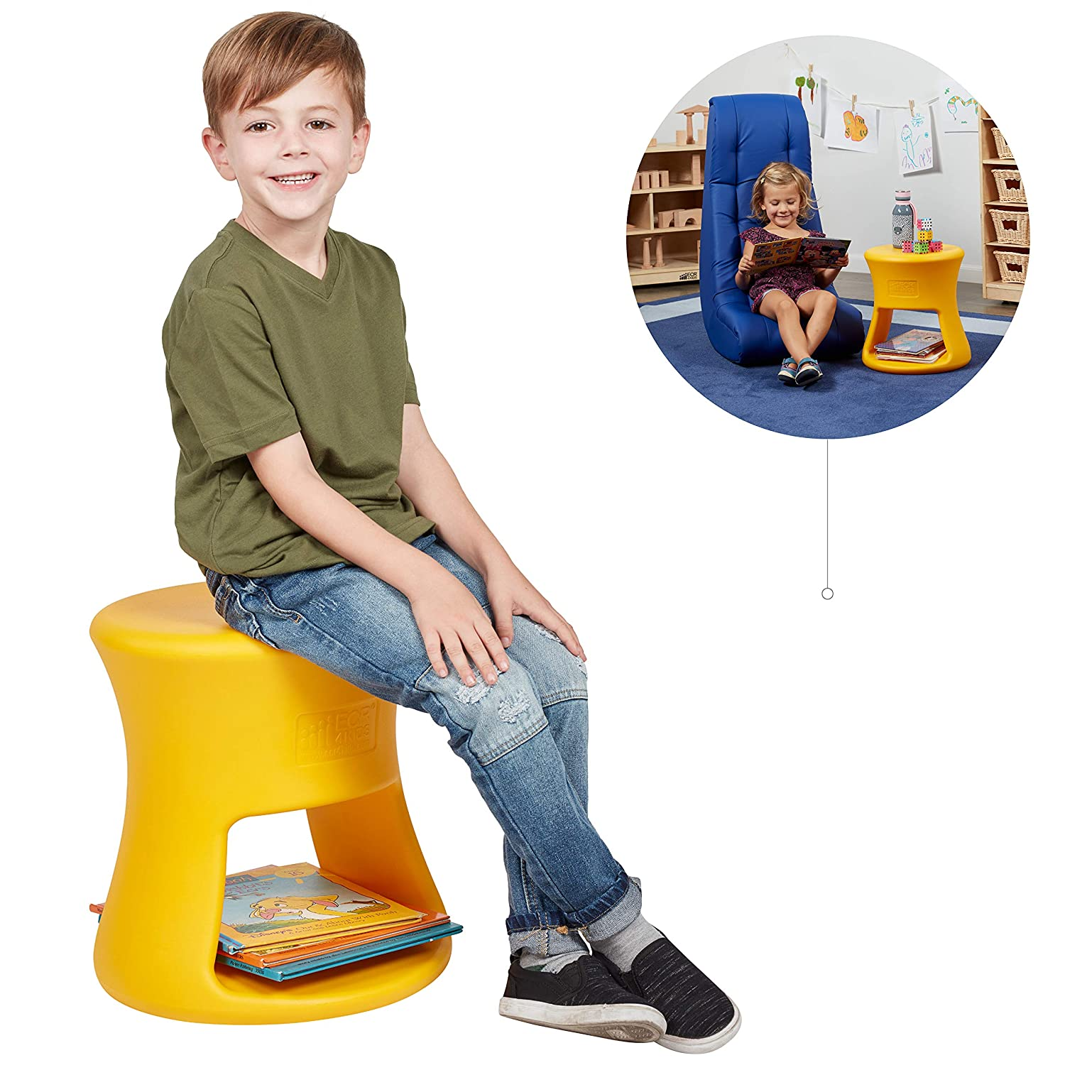 Amazon com ecr4kids lil sprout stool for kids and adults flexible indoor outdoor plastic stool or side table with storage 15 yellow kitchen