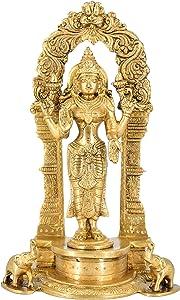 White Whale Standing Goddess Lakshmi with Prabhavali - Brass Statue for Home Decor Mandir Pooja