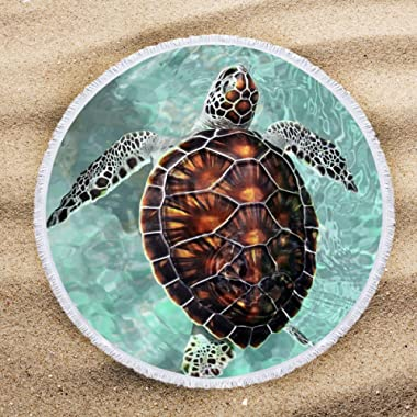 ARIGHTEX Sea Turtle Beach Towel Turquoise Round Tablecloth Teens Round Beach Towel Blanket with Tassels Beaches Decoration