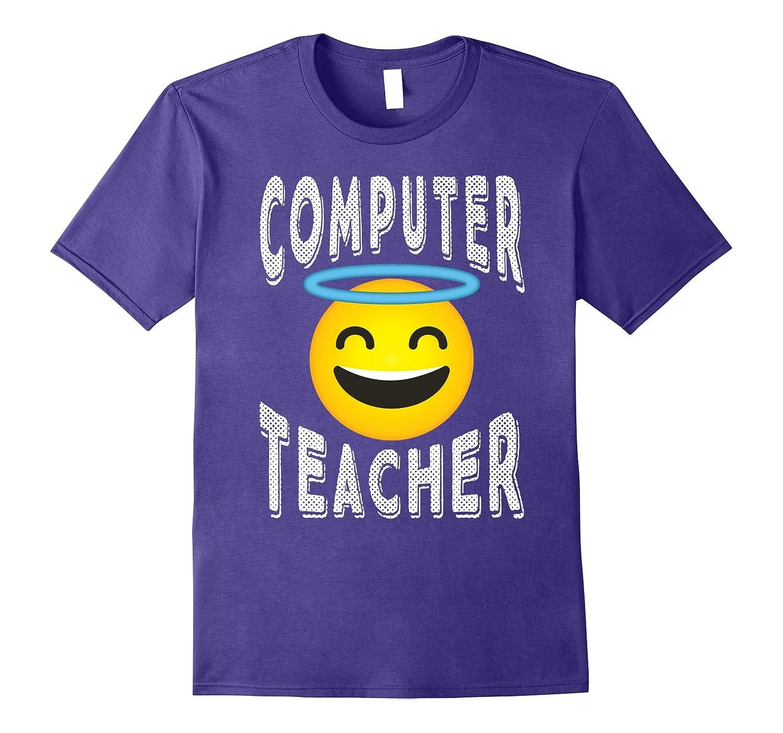 Computer Teacher Shirt - Angel Emoji Computer Teacher Tee-FL