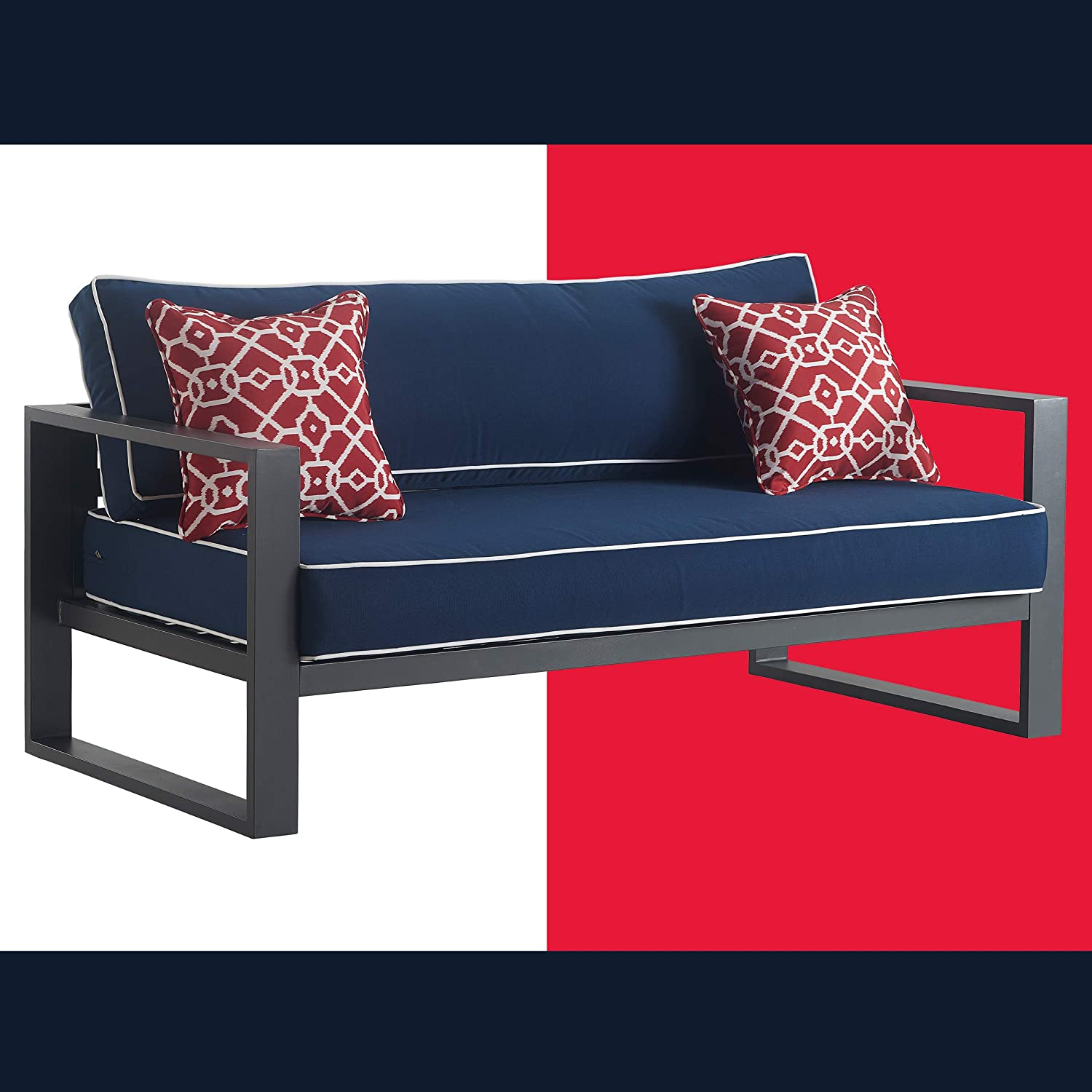 Tommy Hilfiger ODSO10010A Monterey Modern Patio Outdoor Furniture Collection, Weather Resistant, Metal Frame, Sofa, Navy Blue & Dark Gray