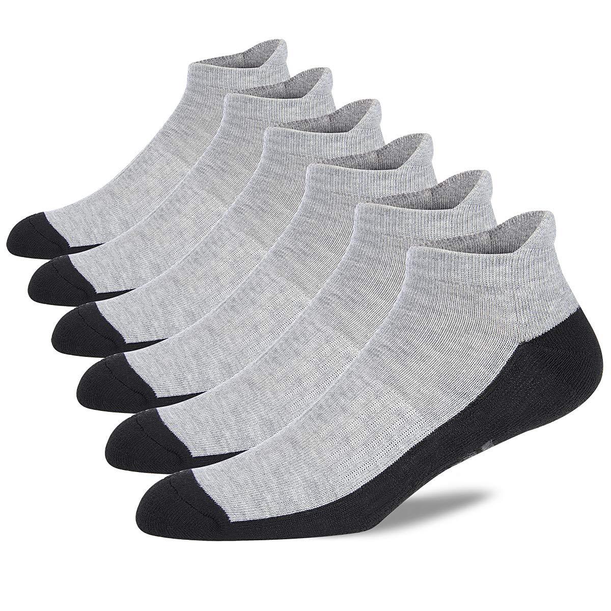 Eallco Mens Ankle Socks Low Cut Athletic Cushioned Running Tab Socks 6 Pack by Eallco