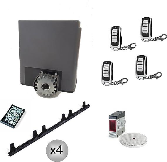 Kit completo profesional motor puerta corredera PRO 600 hasta 600Kg + 4 mandos TX4 rolling code + fotocélula de reflexión + 4 metros de cremallera de nylon. Gran calidad.: Amazon.es: Bricolaje y herramientas