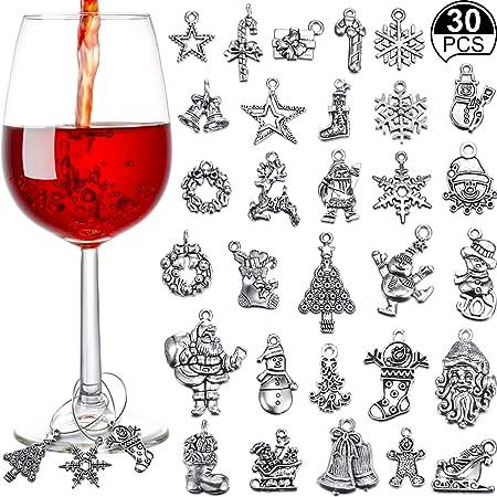 6 ST/ÜCKE Weihnachten Glas Charms Theme Party Weinglas Tags Weihnachten Wein Ringe f/ür Becher Getr/änk Marker