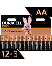 Duracell Plus AA Alkaline Batteries, Pack of 12, 1.5 Volts LR06 MX1500 (Packaging May Vary)