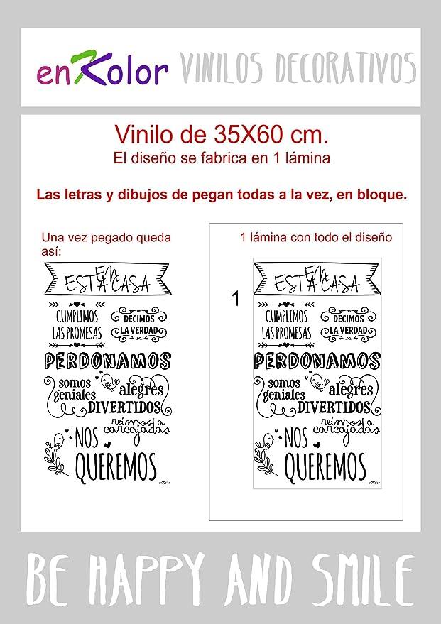 Enkolor Vinilos decorativos frases Normas casa/Pegatinas pared/Gris/35X60cm.: Amazon.es: Hogar