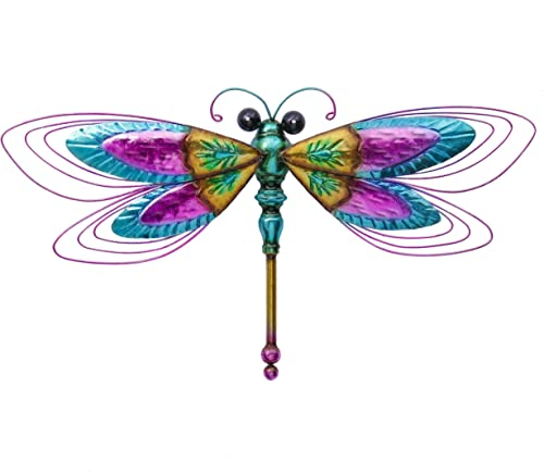 TERESA S COLLECTIONS 26.5 Inch Dragonfly Metal Wall Art Decor Vivid Dragonfly Wall Sculptures for Home Living Room Bathroom Bedroom Garden Decoration