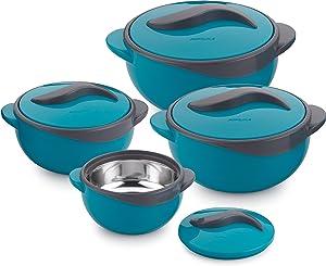 Pinnacle Parisa 4Pc Round Heat Insulated Food Storage Hot Pot Casserole Set, Blue