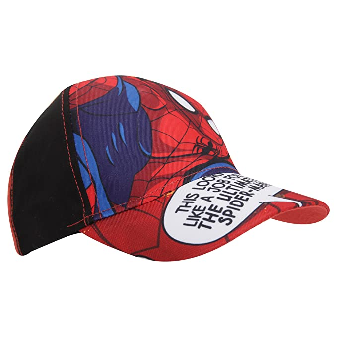 92b05e541b737d Marvel Childrens/Boys Ultimate Spiderman Baseball Cap (20.5in) (Red/Black