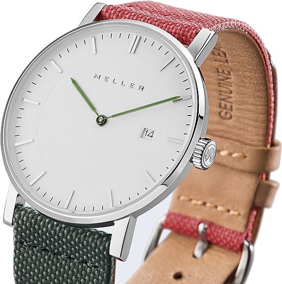 Meller Unisex dag biplanet minimalista reloj con blanco esfera analógica y correa de piel: Amazon.es: Relojes