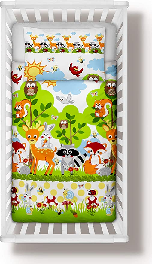 Duvet Cover 90x120 cm Pillowcase Little Dogs Puppies Pillow Nursery Baby Bedding Set 4-Piece incl Duvet