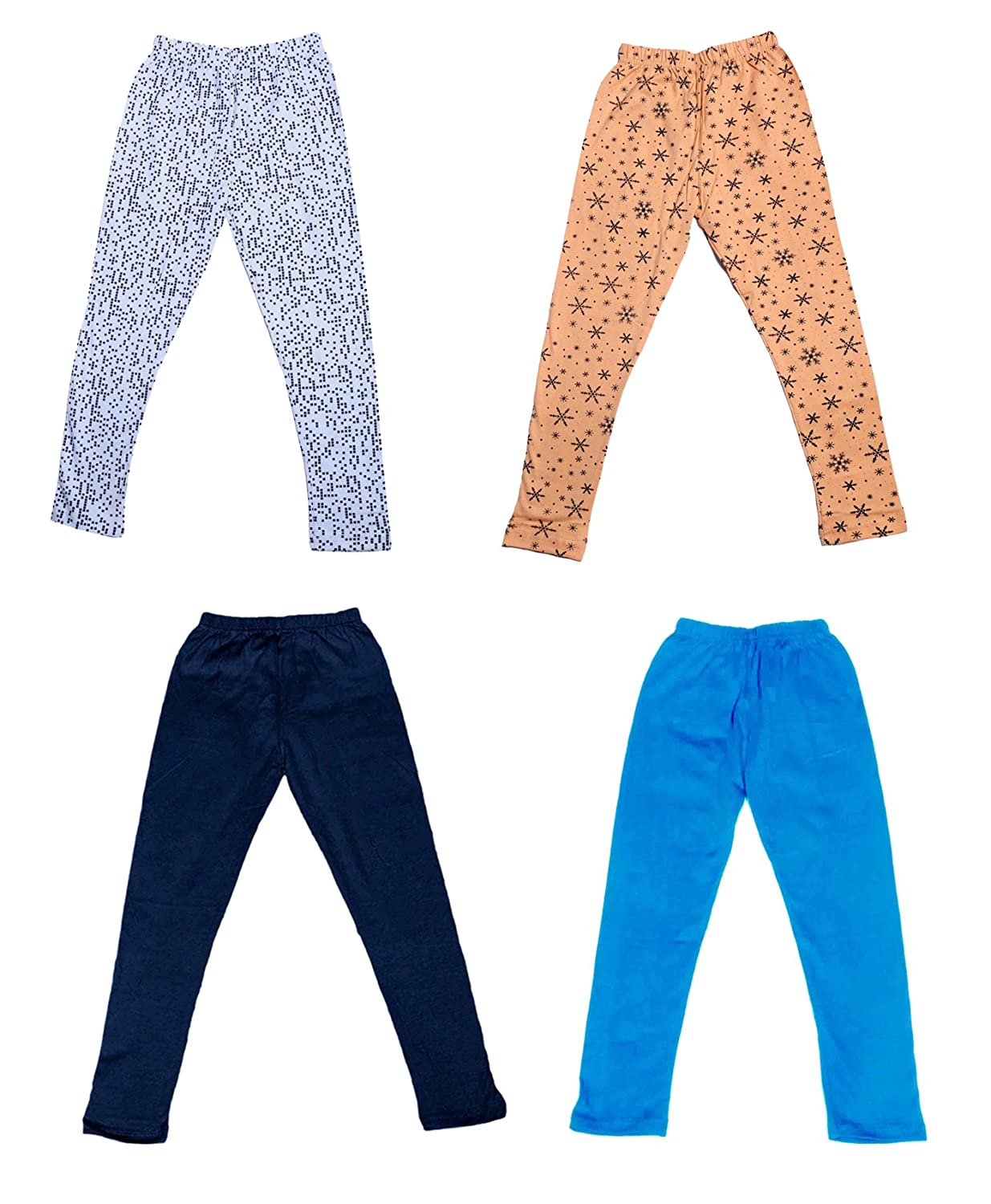 Pack Of 4 and 2 Cotton Printed Legging Pants Indistar Girls 2 Cotton Solid Legging Pants /_Multicolor/_Size-7-8 Years/_71410111921-IW-P4-30