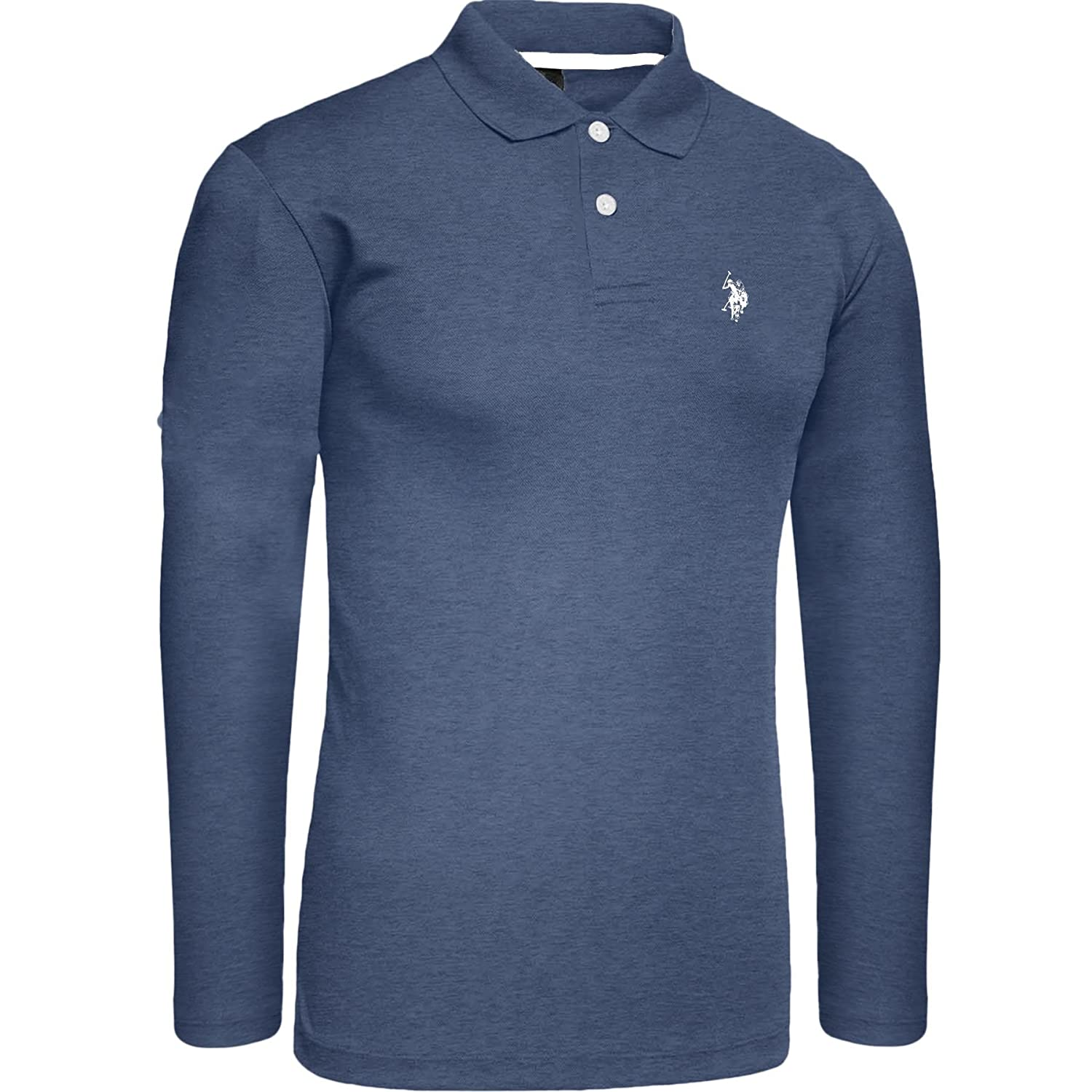 New Mens US Polo ASSN Long Sleeve Pique Polo Horse Shirt | Small Pony Denim Blue Size S-XXL Custom Fit Top