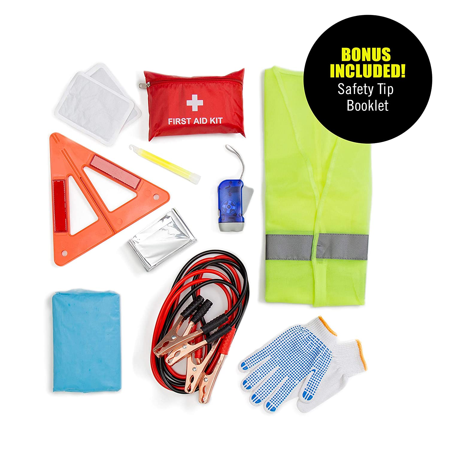LED Flash Light Safety Vest /& More Ideal Winter Accessory for Your Car Truck Or SUV Rain Coat Glow Stick Roadside Assistance Emergency Car Kit Jumper Cables First Aid Kit