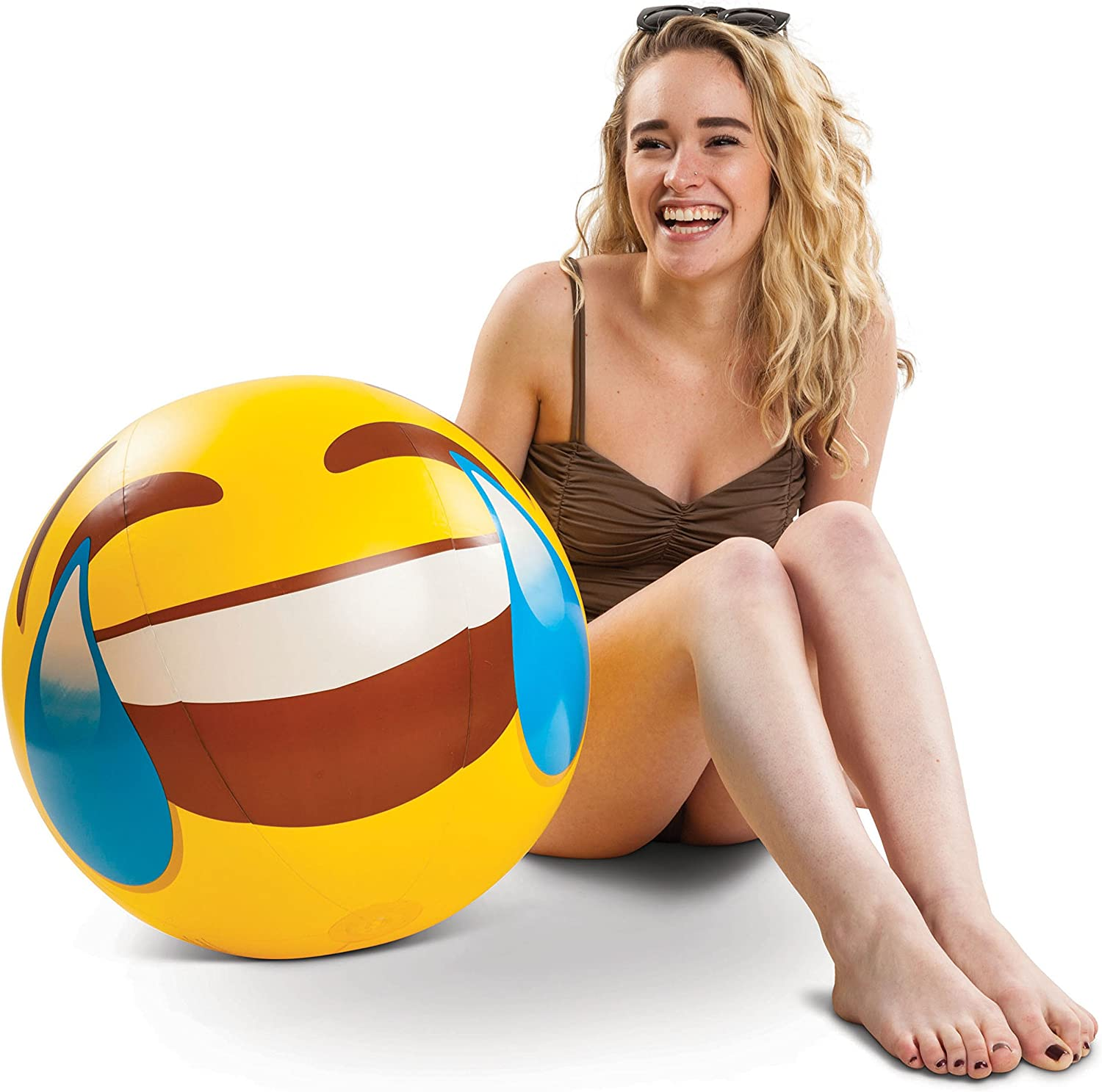 Coconut Float Emoji Beach Ball Tears of Joy Bring Joy to Your Pool and Laugh All Summer!