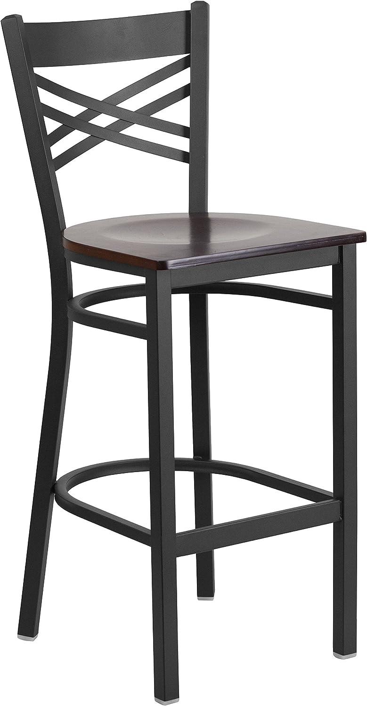 Flash Furniture HERCULES Series Black X Back Metal Restaurant Barstool – Walnut Wood Seat
