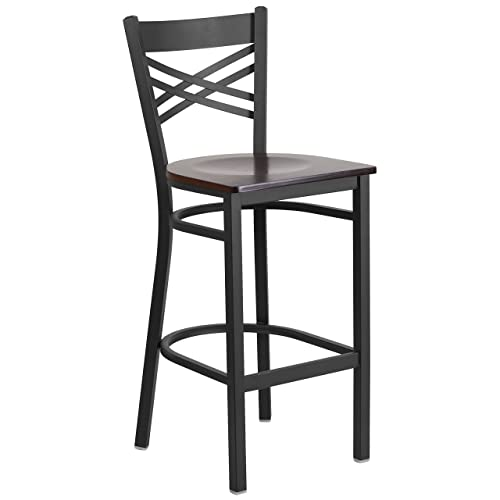Flash Furniture HERCULES Series Black X Back Metal Restaurant Barstool – Walnut Wood Seat