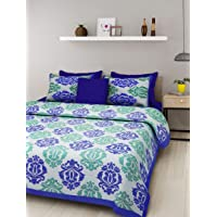 Monik Handicrafts 100% Cotton Rajasthani Jaipuri sanganeri Traditional King Size Double Bed Sheet with 2 Pillow Covers