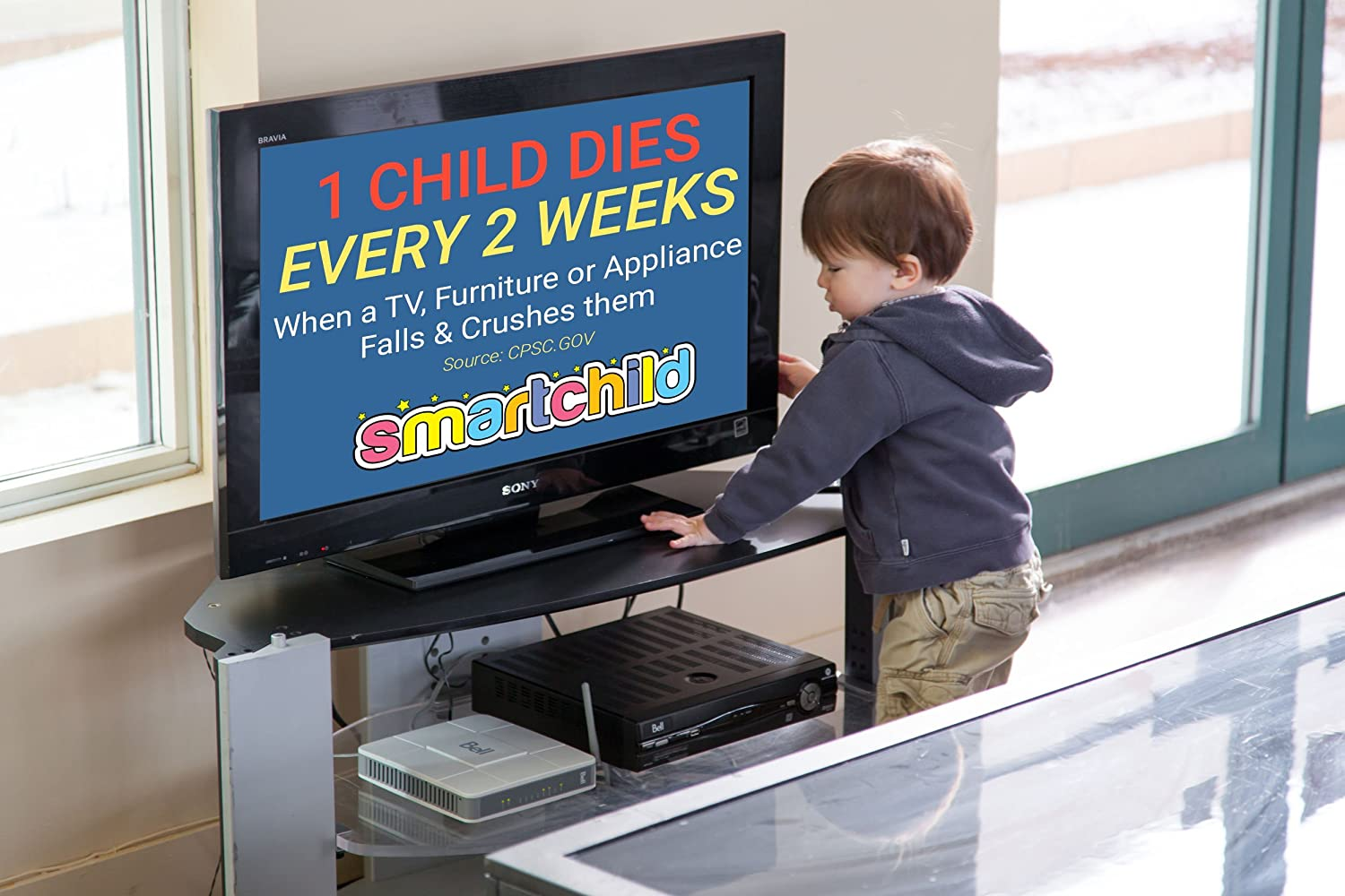 | Baby /& Child Proof 2 x Black Straps Extra Strong Metal Seniors Safety SmartChild Anti Tip Safety Straps Earthquake /& RV Protection Anchor Flat Screen TV or Furniture to Wall Nickel Effect