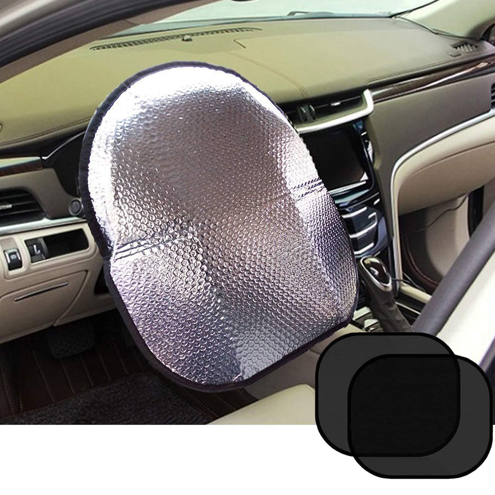 "Big Ant Steering Wheel Cover Sun Shade + Bonus Side Window Sunshade-Heat Reflector Fit Most Jumbo/Standard Car-Sliver (20.1""X 17.3"")"