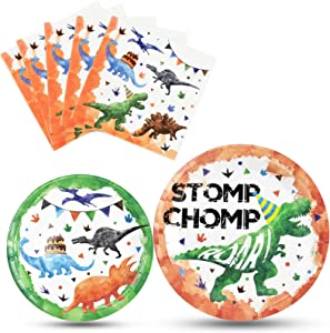 Watercolor Dinosaur Party Plates and Napkins - Dinosaur Birthday Party Supplies Bundles for Boys Kids Disposable Luncheon Dinner Dessert Cake Plates Napkins Tableware Set Serves 16 Guests 48 Pieces
