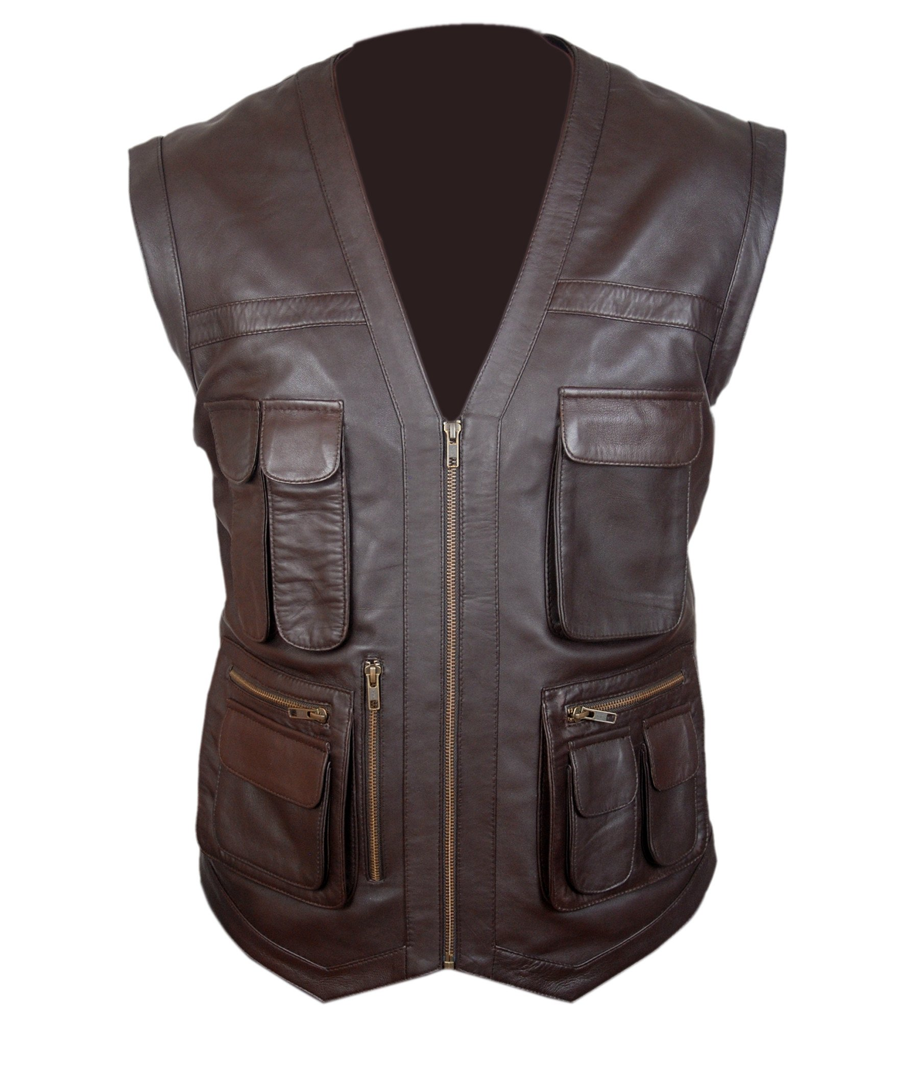 F&H Boy's Jurassic World Chris Pratt Owen Grady Genuine Leather Vest XL Brown by Flesh & Hide