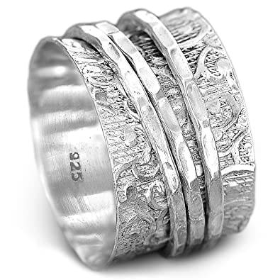 1d689d744adc3 Boho-Magic 925 Sterling Silver Spinner Ring for Women | 3 Spinning Rings  Bands | Fidget Meditation Anxiety | Wide Statement Chunky Jewelry Size  7-10.5