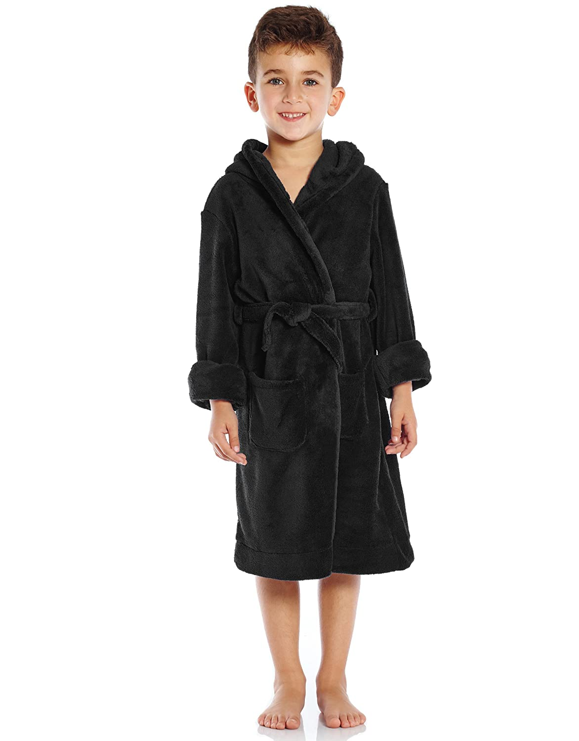 9a9a9d5121 Amazon.com  Leveret Kids Robe Boys Girls Solid Hooded Fleece Sleep Robe  Bathrobe (2 Toddler-14 Years) Variety of Colors  Clothing