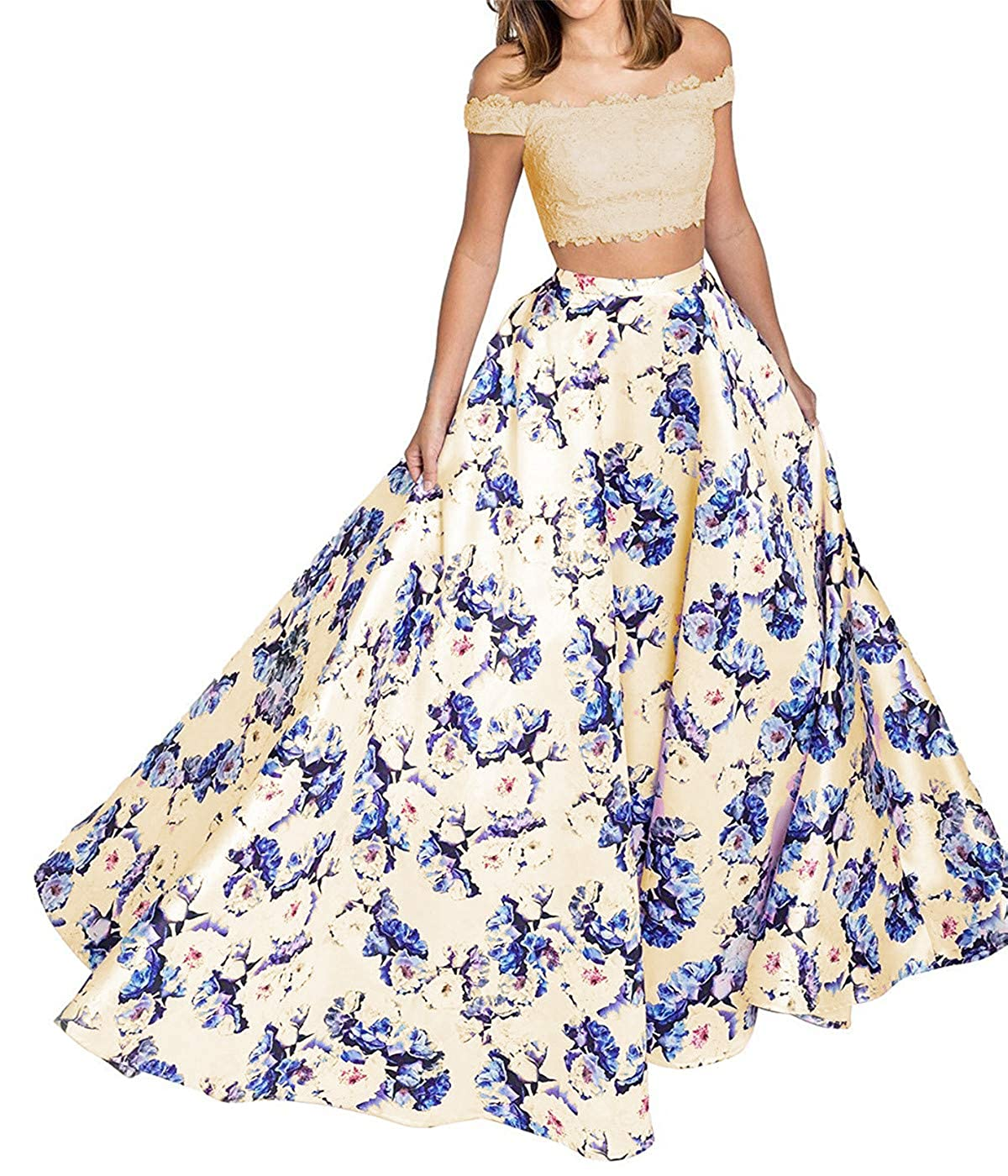 Champagne Sophie Women's 2 Piece Floral Printed Prom Dresses 2019 Long Formal Evening Ball Gowns S285