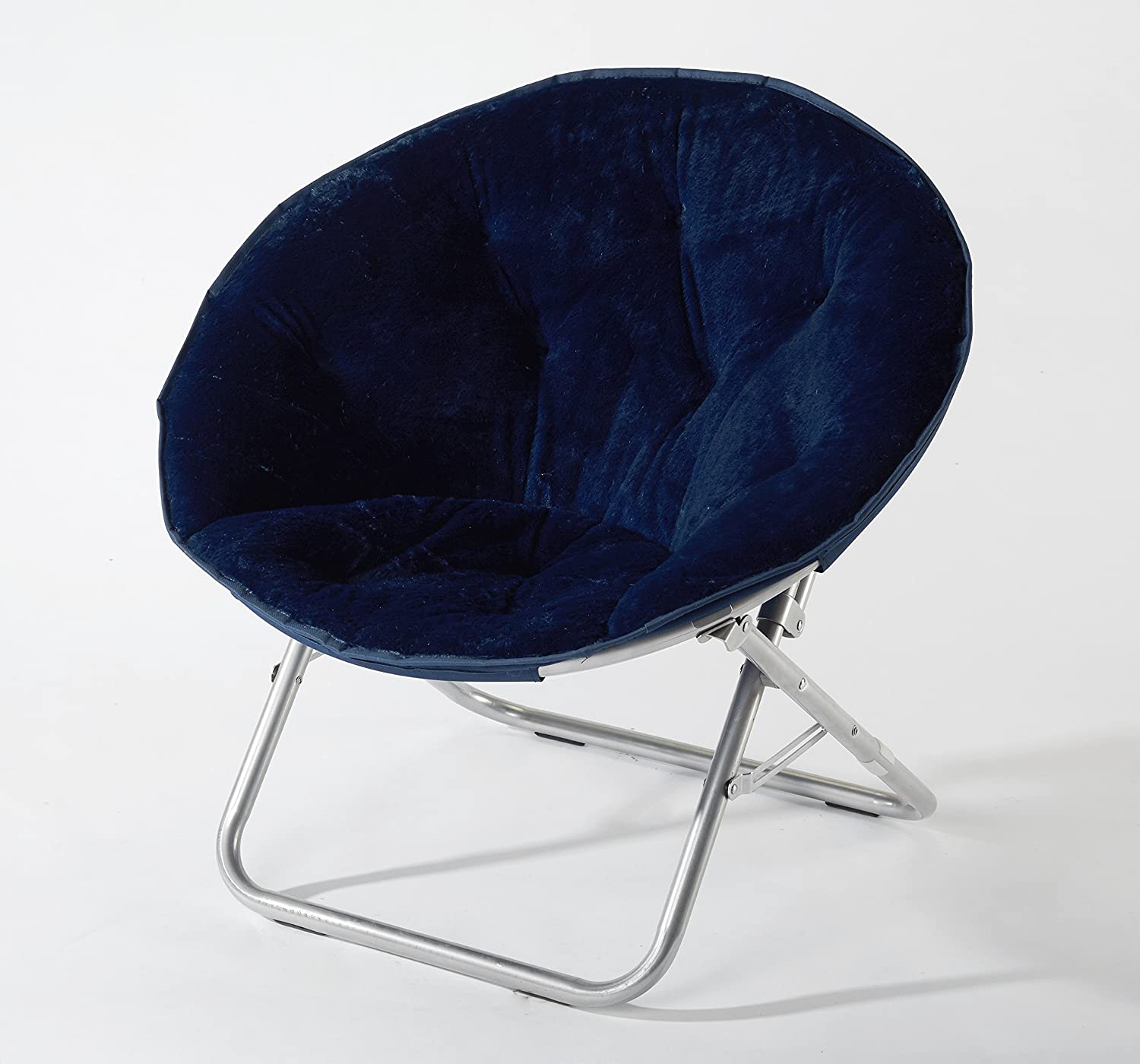 225 lbs Capacity Foldable Steel Frame Soft and Wide Seat Faux-Fur Saucer Folding Chair in Black