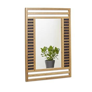 Relaxdays Bambus Spiegel HBT 70 X 50 2 Cm Badspiegel Und Wandspiegel Mit Dekoraktivem