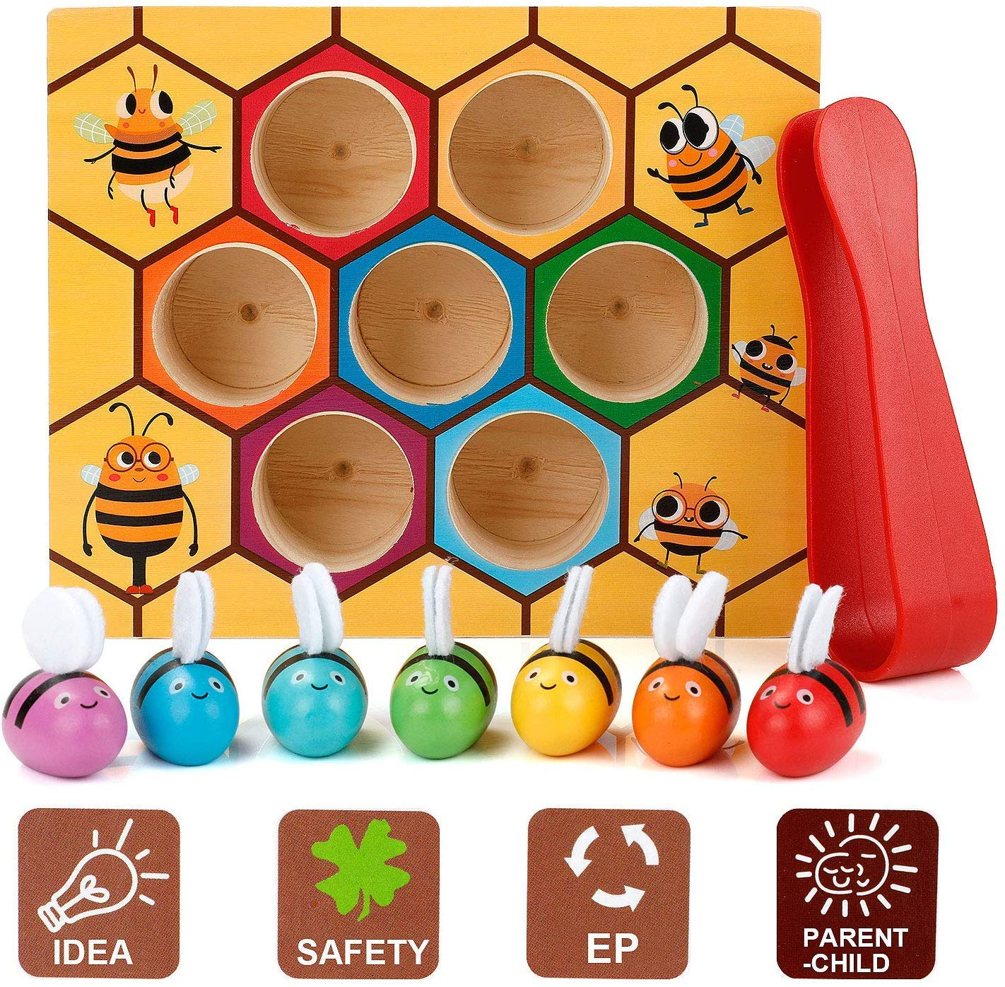 Premewish Giocattoli Bambini Prescolare Giocattolo Educativo Montessori Ape Clip Scatola in Legno Gioco Multicolore Regalo Compleanno per Bambini