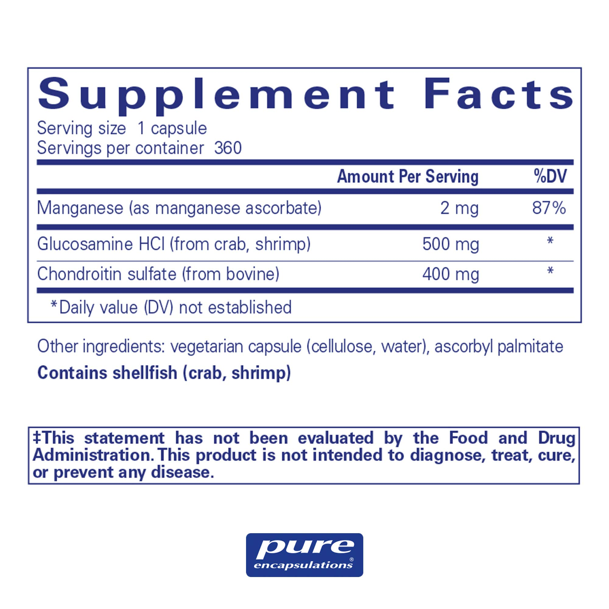 Pure Encapsulations - Glucosamine + Chondroitin with Manganese - Enhanced Cartilage Synthesis and Antioxidant Support* - 360 Capsules by Pure Encapsulations (Image #2)