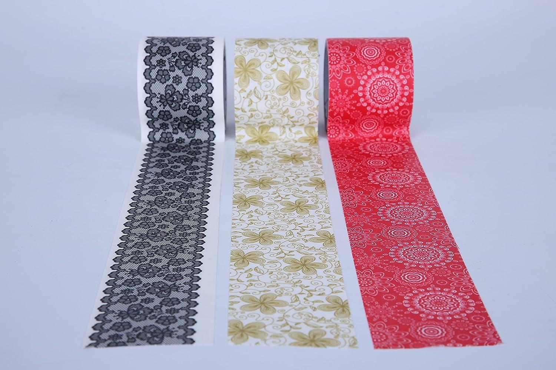 Juego de 3 rollos de cinta adhesiva estampada 4,8 cm de ancho 5 m de largo