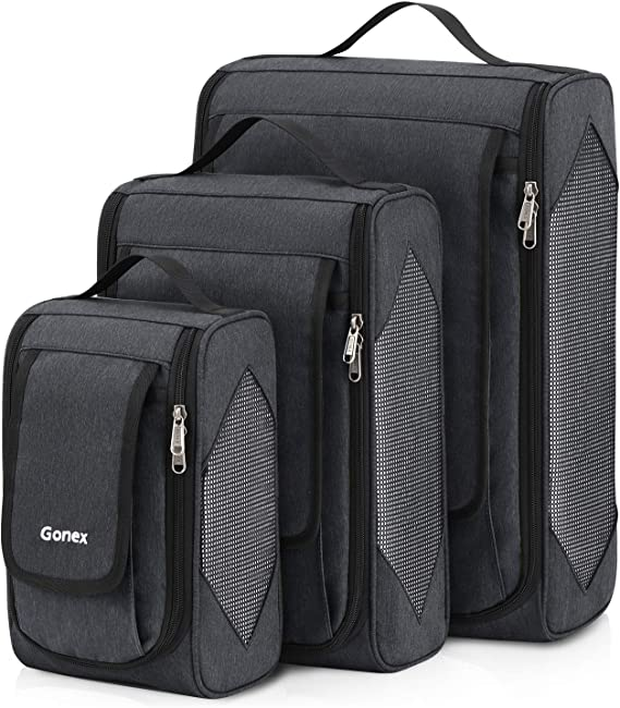Large Packing Cubes, Gonex Business Travel Organizers 3PCs L+M+S Deep gray