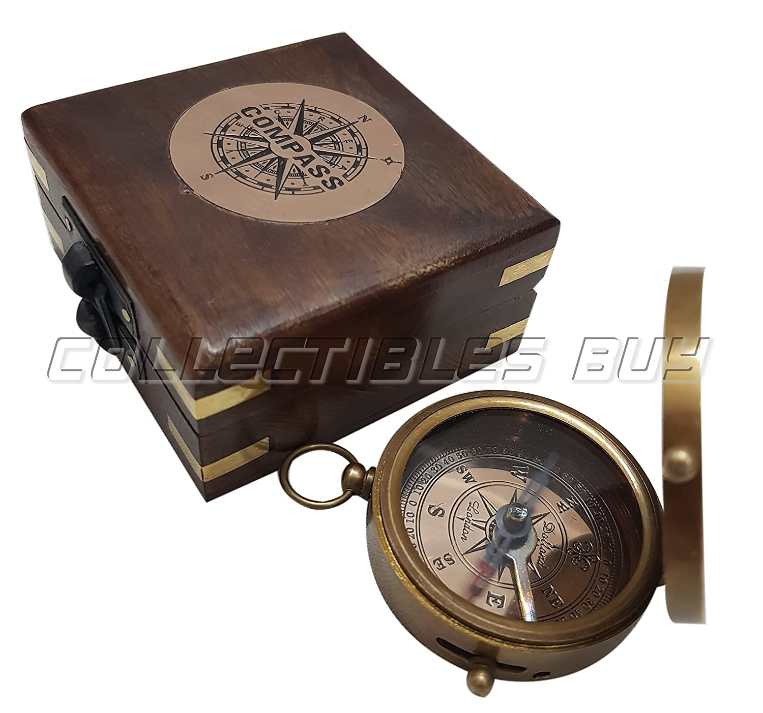 Antique Dollond London Brass Compass Retro Brown Wooden Box Nautical Magnetic Sailor Handmade Compasses CollectiblesBuy