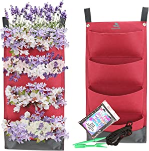 Vertical Wall Hanging Red Felt Fabric Waterproof Grow Bags / 2 Pack x 4 Pocket Smart Planter Garden Kit for Indoor and Outdoor Vegetable Herb Succulent or Seed Garden Growing