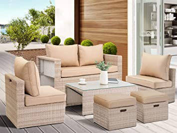 Amazon.com : COSY Outdoor Patio Furniture Rattan Sofa 6PC ...