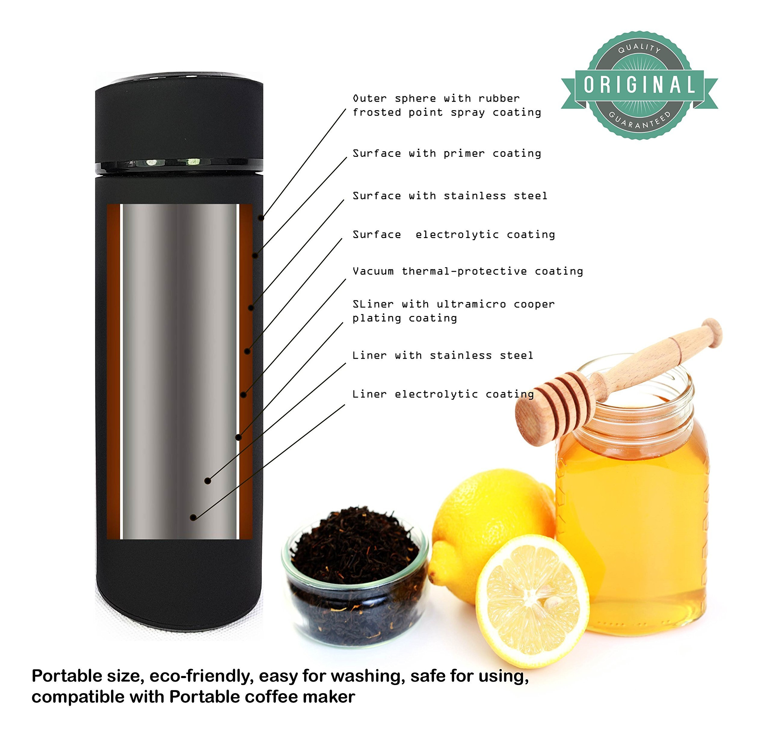 Trimm Portable Hand Held Espresso Machine and Thermos Vacuum Insulated Double Wall | Portable Espresso Maker and Flask | Single Cup Coffee Maker and Tea Thermos Bottle | Travel Set Great Gift Idea by TRIMM THE FUTURE STARTS NOW (Image #6)
