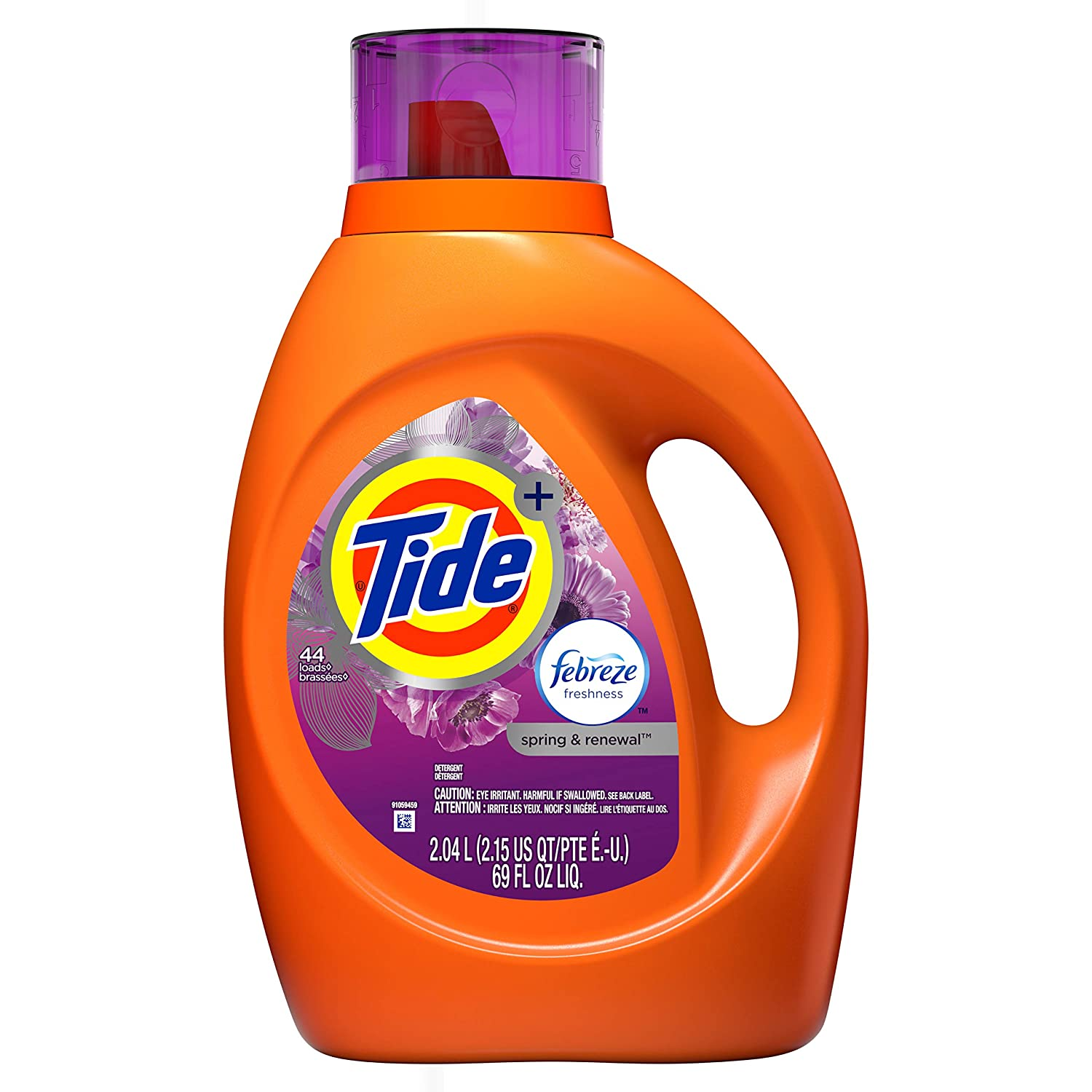Tide Tide Plus Febreze Freshness Spring & Renewal HE Turbo Clean Liquid Laundry Detergent, 69 fl oz 44 Loads, 69 Fl Oz