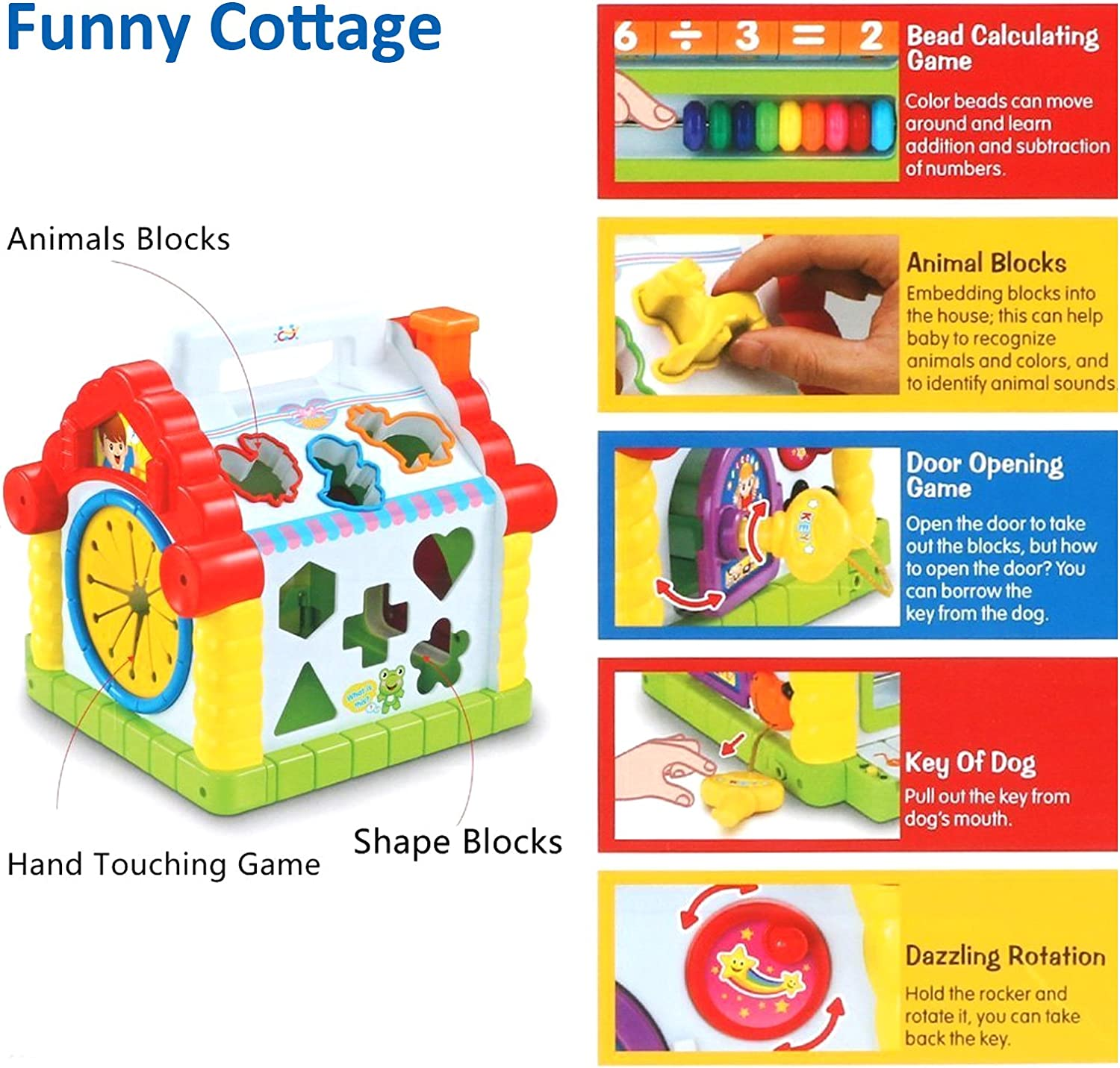 Celiy Multi-Function House Shape Cognition Matching Toy with Music Childrens Toy Set