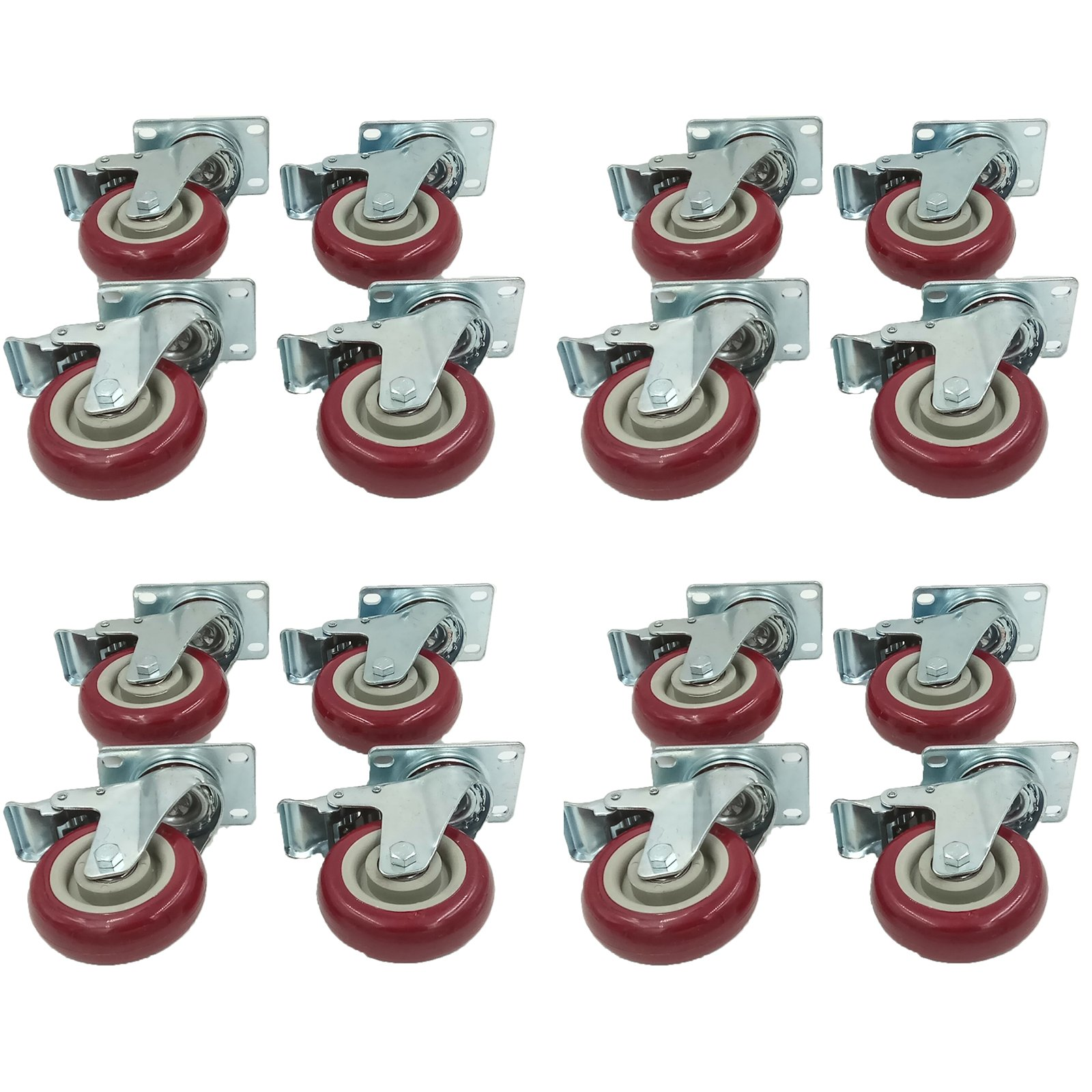 4″ PVC Heavy Duty Swivel Caster Wheels Lockable Ball Bearing 300Lbs each (Set of 16) by MarsIndustry (Image #1)
