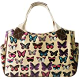 Miss Lulu Women's Girls Oilcloth Flower Owl Polka Dot Butterfly Day Tote Shopper Travel Hand Bag