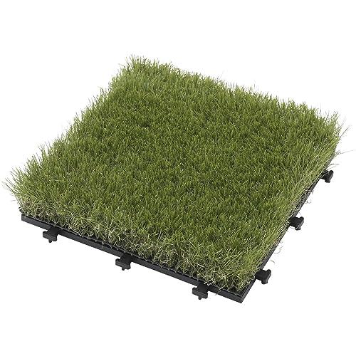 枯草風の芝を混ぜ、天然芝のような見た目と質感を再現している。芝丈はボリュームを感じつつ水はけも良い約2.7cm。好きなサイズや形状に土台ごとカットできる。約30cm×30cmの20枚セット。同メーカー製素材違いのジョイントパネルとの組み合わせもOK。