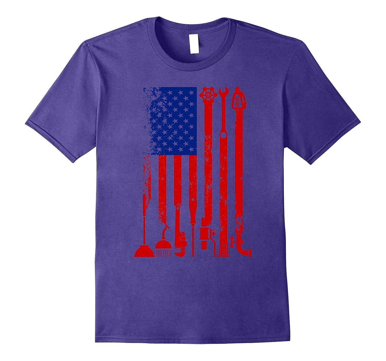 American Flag Plumber T-shirt-TJ