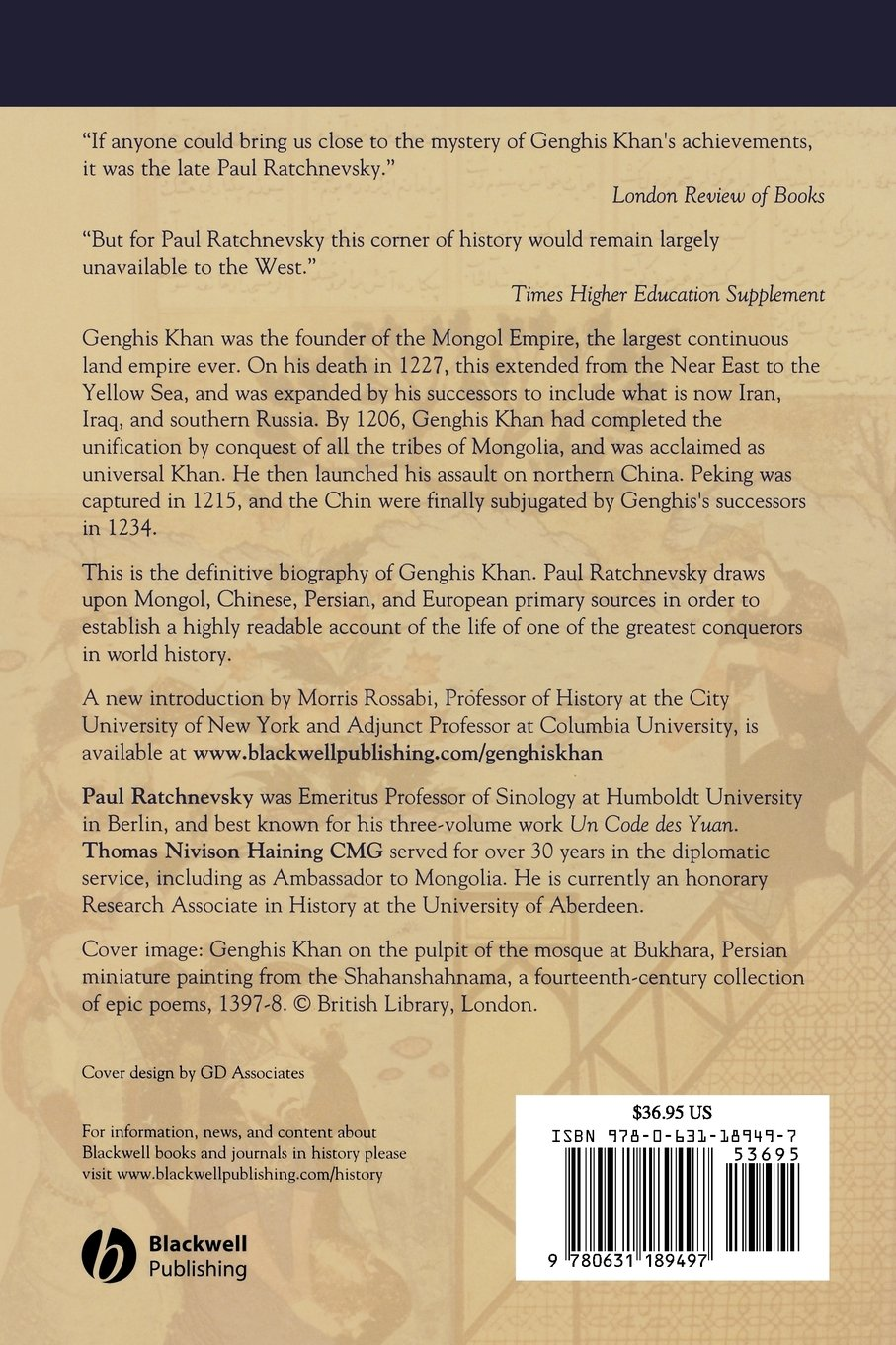 Genghis Khan: His Life and Legacy by Wiley-Blackwell