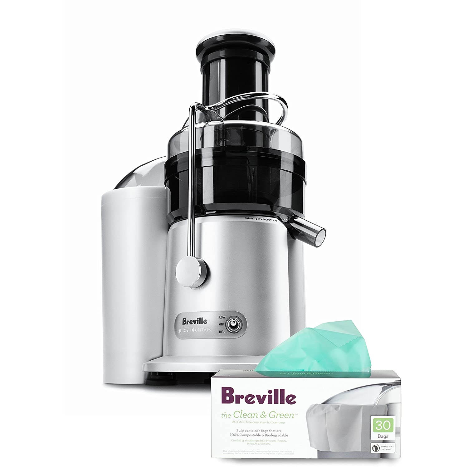 Breville Heavy-Grade Polymer Juice Fountain Plus with Free Pulp Container Bags